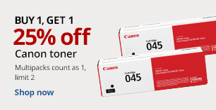 Buy 1 Get 1 25% off Canon Toner.  Limit 2. Multipacks count as 1.