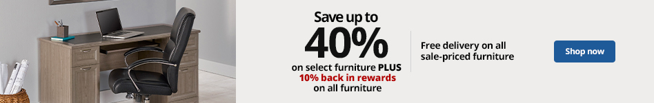 Save up to 40% on select furniture PLUS 10% back in rewards on all furniture