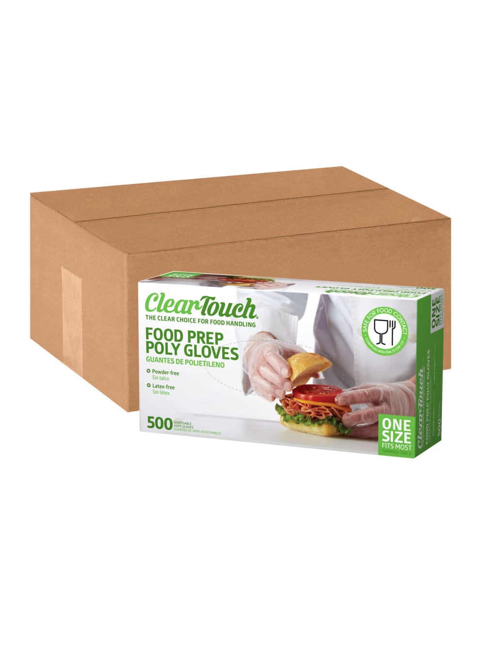 500 CLEAR TOUCH Food Prep Poly Powder Free Gloves One Size Fits Most