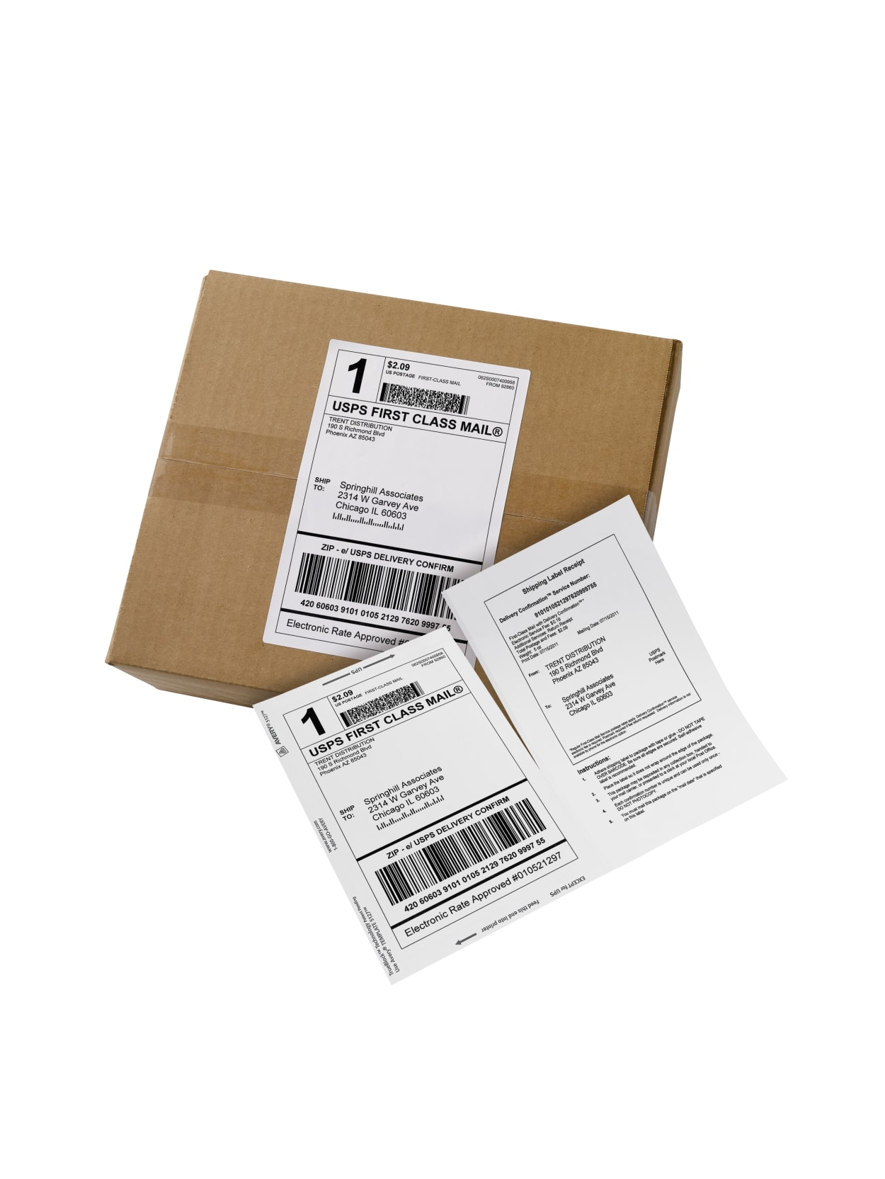 Avery Bulk Shipping Labels With Paper Receipts 27902 5 116 X 7 58