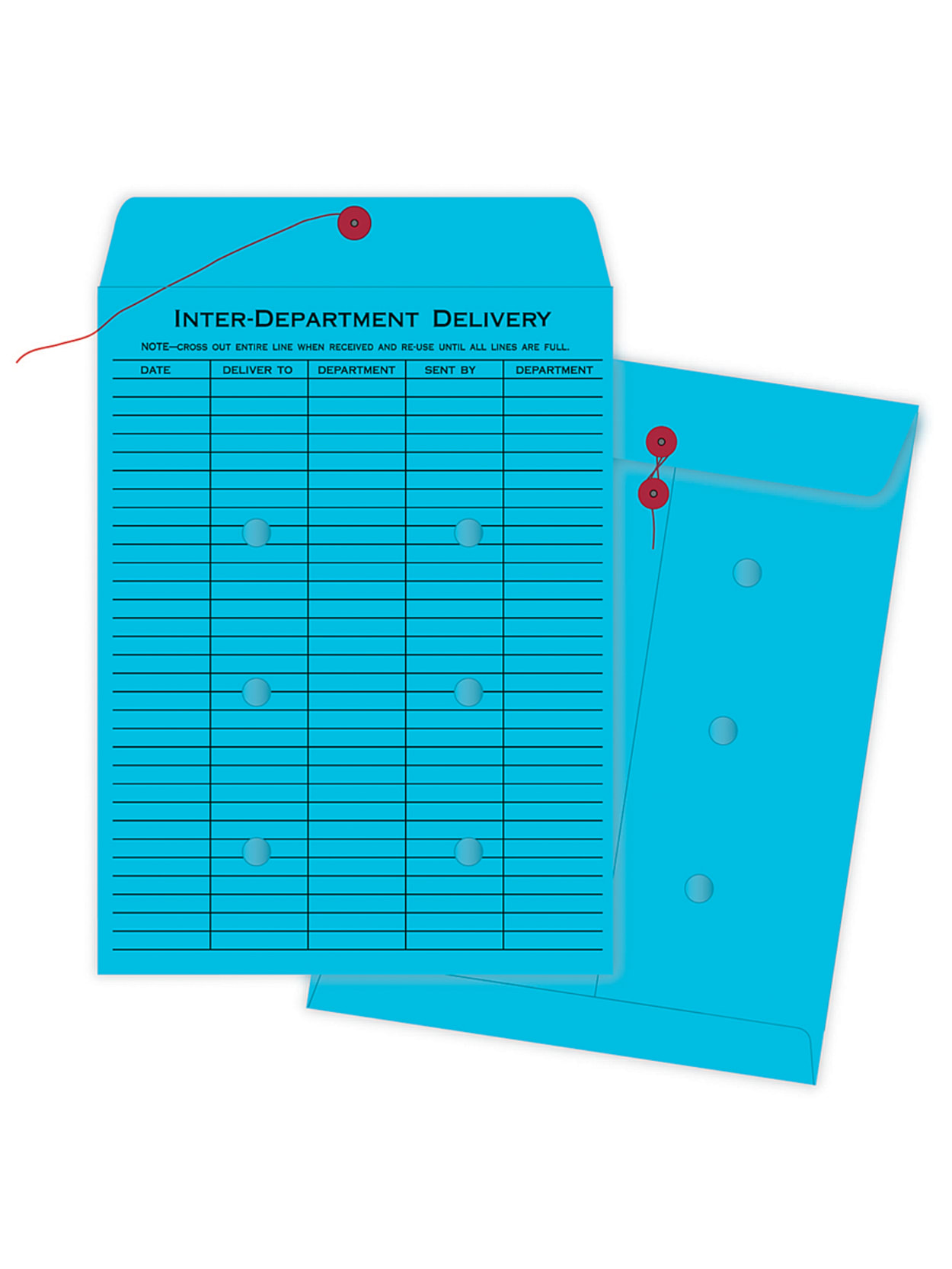 Quality Park Interdepartment String And Button Closure Envelopes 10 X 13 1 Sided Narrow Rule Blue Box Of 100 Office Depot