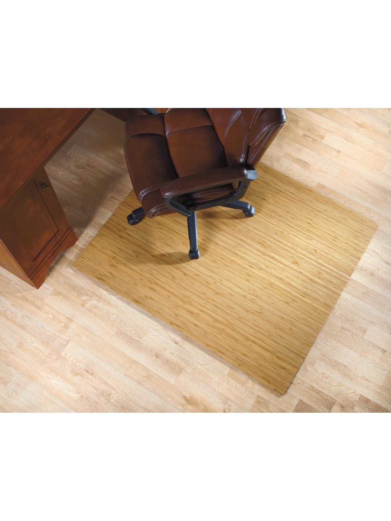 Realspace Bamboo Roll Up Chair Mat 48 X 52 Natural Office Depot