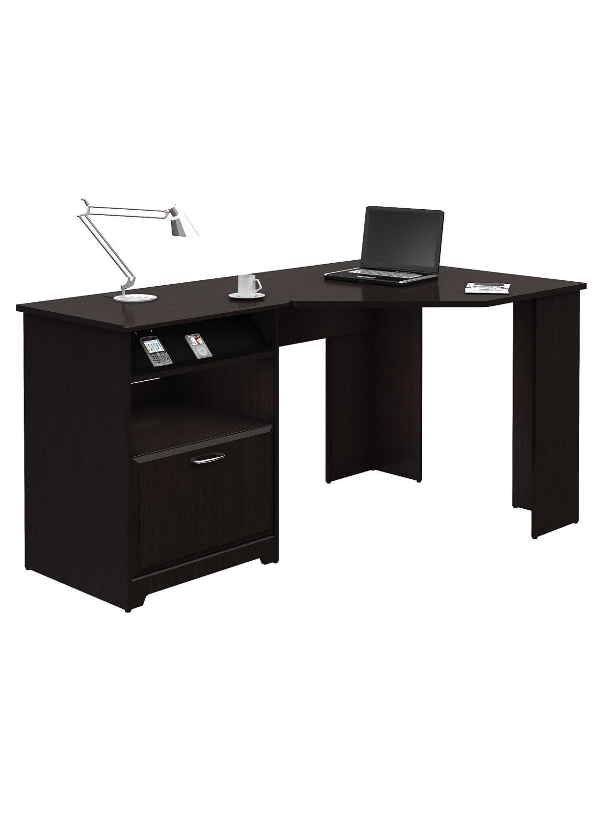 Bush Cabot Corner Desk Espresso Oak Standard Delivery Office Depot