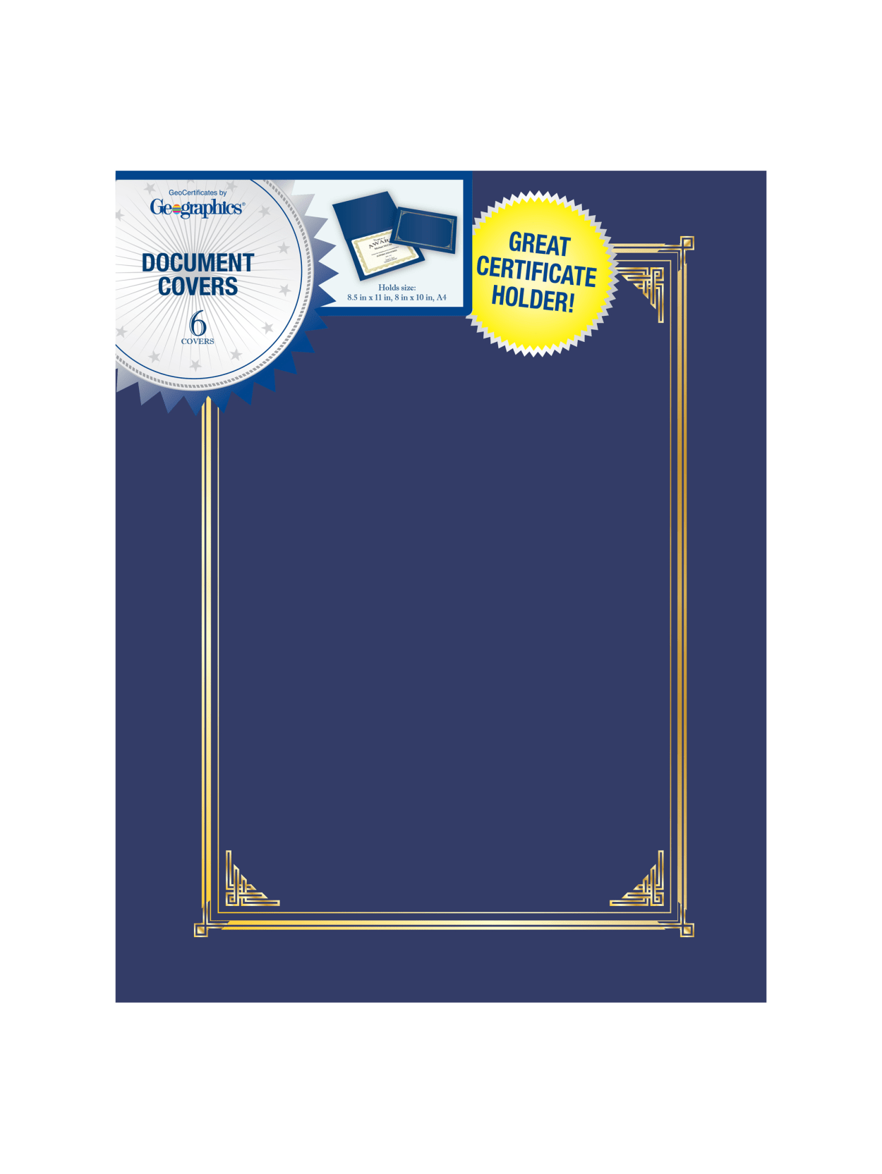 47153 90 lb 6.5 x 9.75 Inches 6 Pack Navy Blue Gold Foil Geographics Navy Blue Classic Linen 2 UP Document Covers