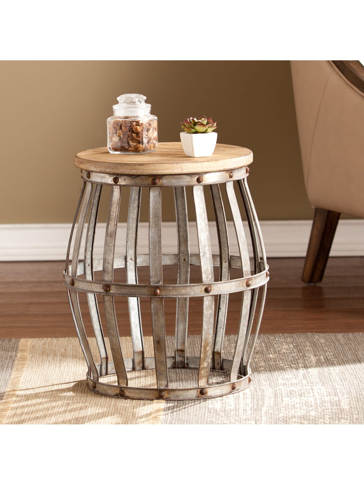 Picture of: Southern Enterprises Mencino Accent Table Round Antique Silverweathered Fir Office Depot