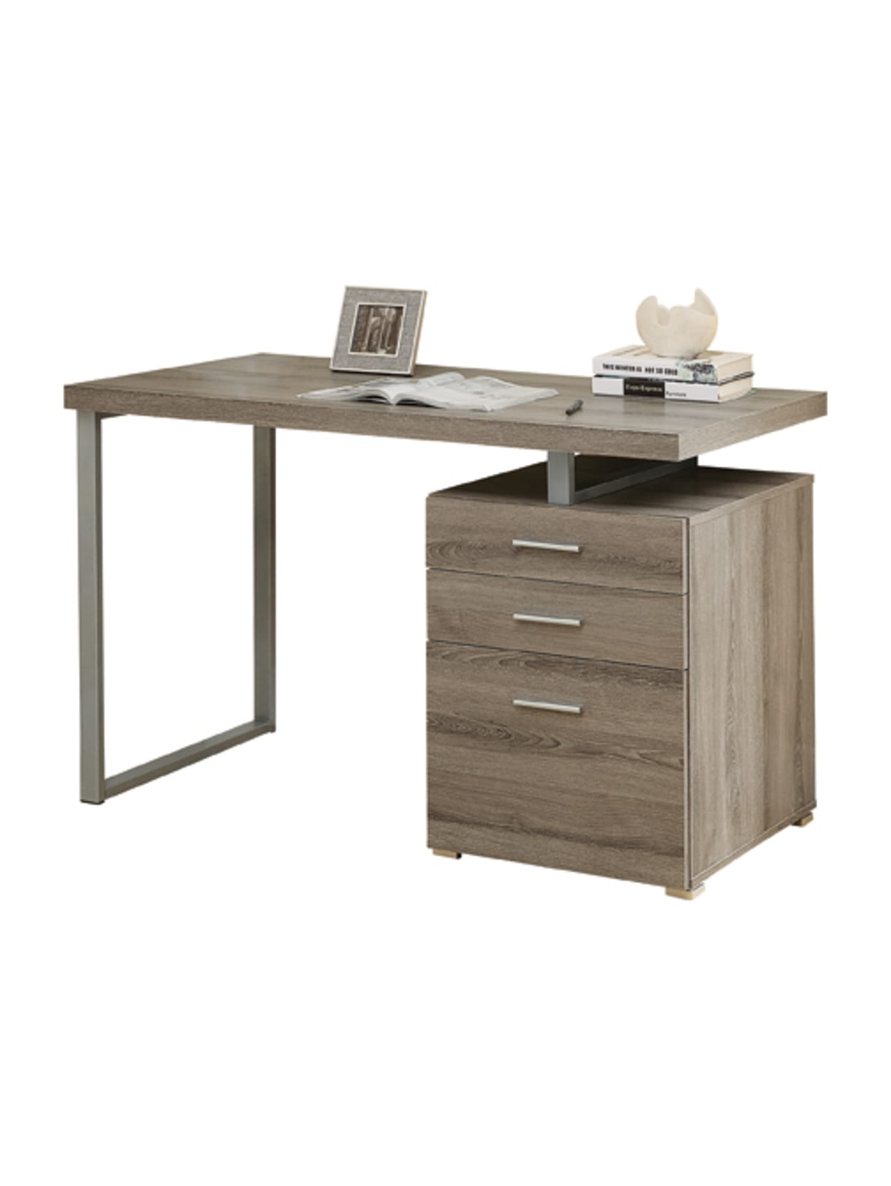 Monarch Specialties Floating Top Computer Desk With 49 Drawers, Dark Taupe  Item # 18524900