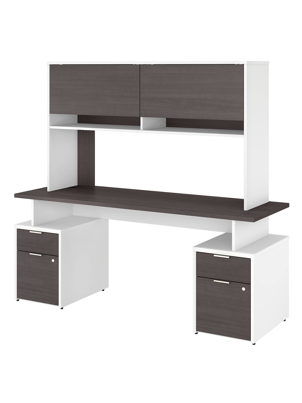 Bush Business Furniture Jamestown Desk With 4 Drawers And Hutch 72 W Storm Graywhite Standard Delivery Office Depot