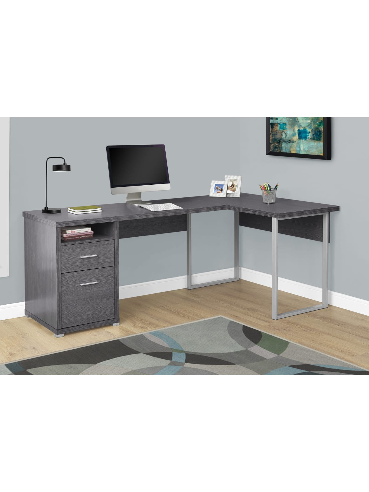 Monarch Specialties L Shaped Computer Desk With 2 Drawers Gray Office Depot
