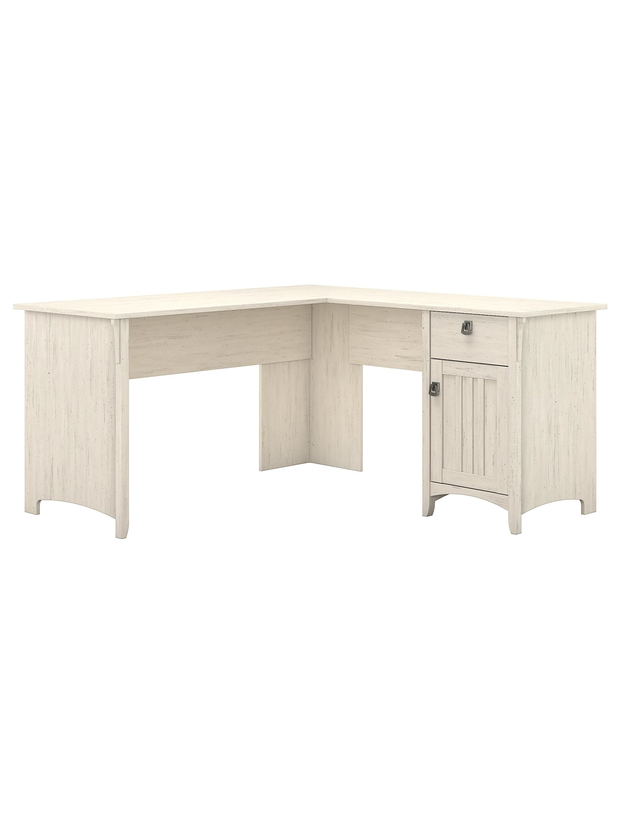 Bush Furniture Salinas L Shaped Desk With Storage Antique White Standard Delivery Office Depot