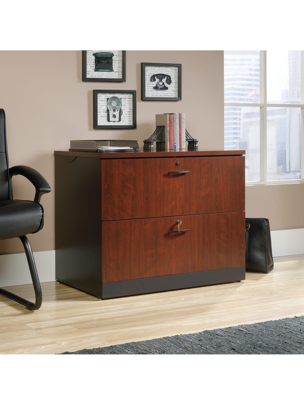 Sauder Via 36 W Lateral 2 Drawer File Cabinet Classic Cherrysoft Black Office Depot