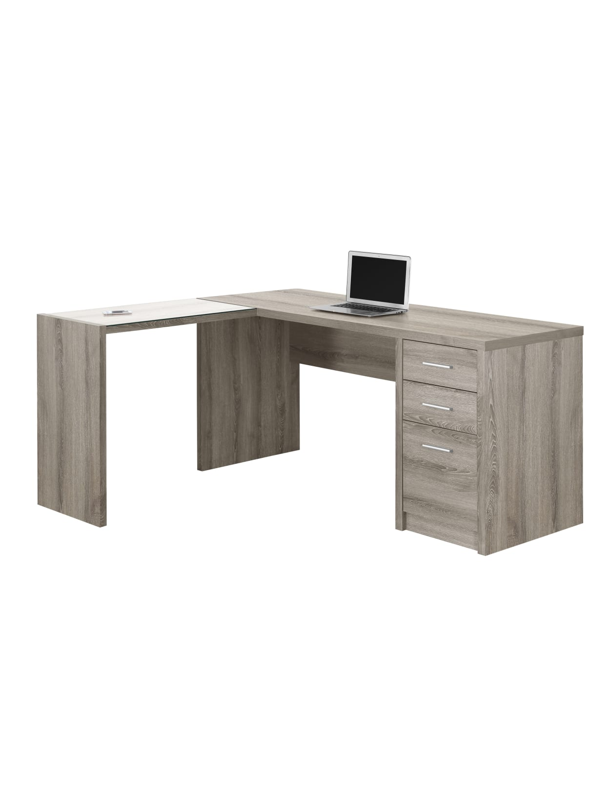 Monarch Specialties Corner Computer Desk With 3 Drawers 60 W X 55 D Dark Taupe Office Depot