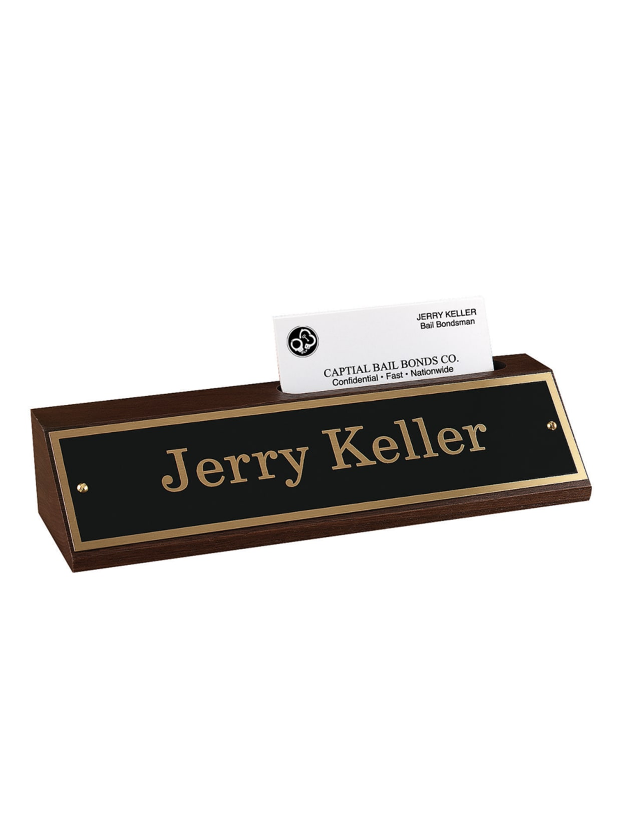 Custom Engraved Black And Gold Metal Desk Sign With Walnut Desk Bar And Business Card Holder 1 34 X 8 12 Office Depot