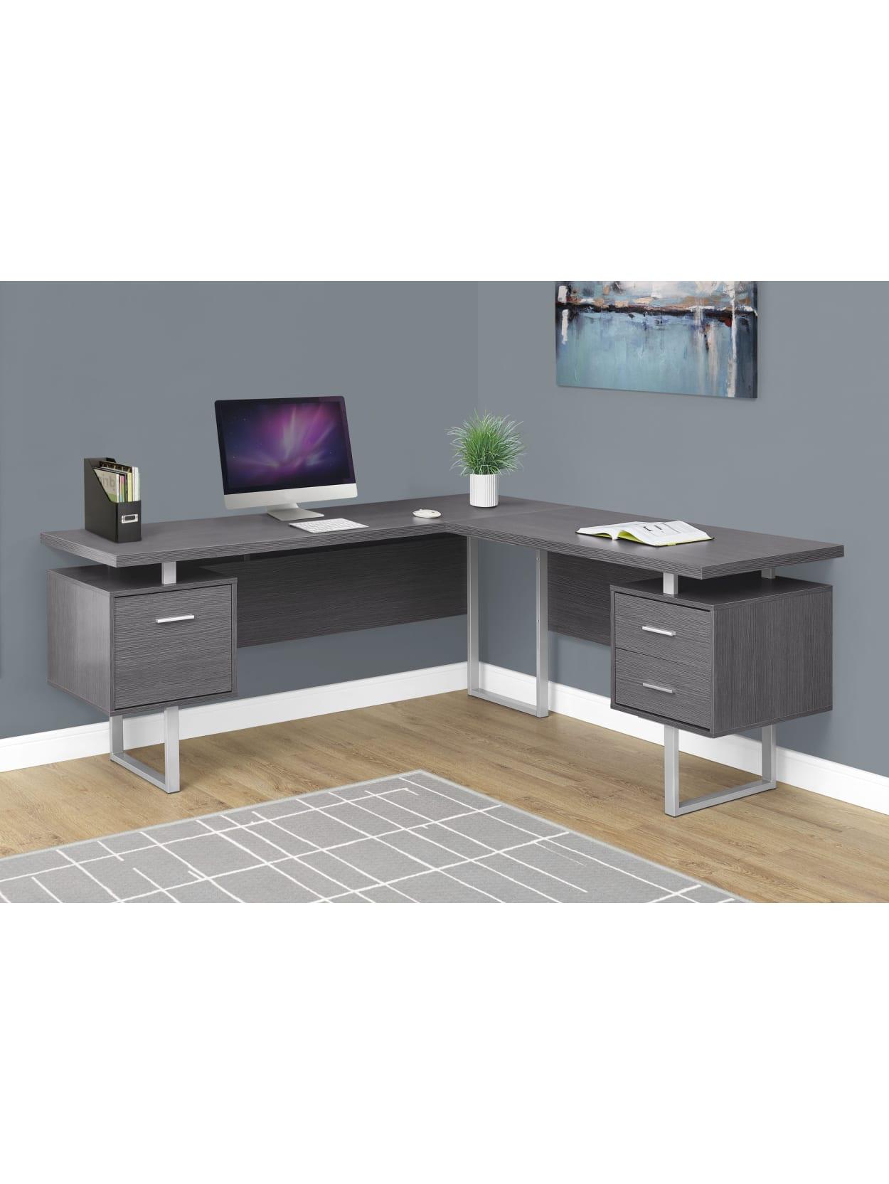 Monarch Specialties L Shaped Desk Gray Office Depot