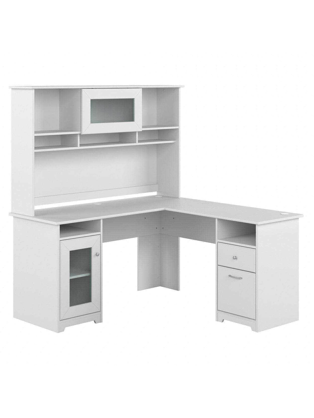 Bush Cabot L Desk Whutch 60 W White Office Depot