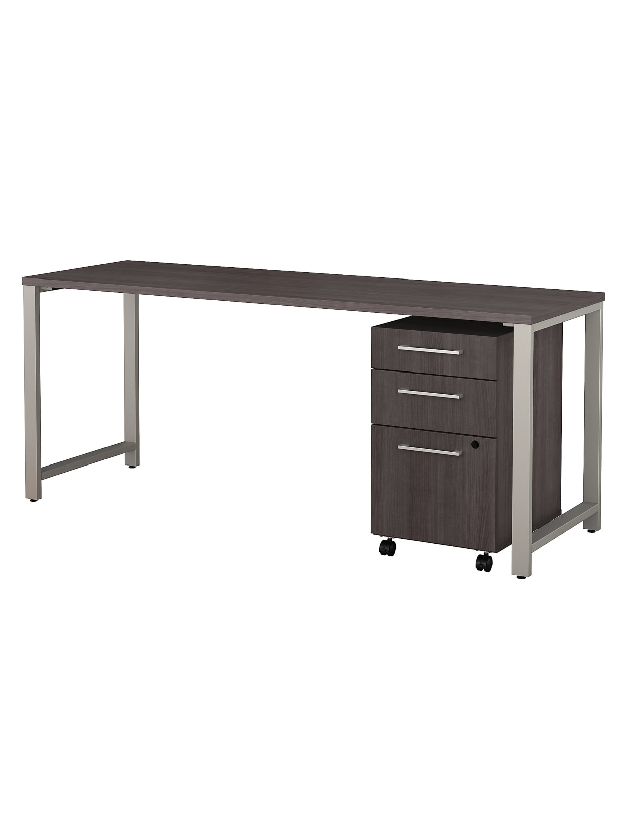 Bush Business Furniture 400 Series Table Desk With 3 Drawer Mobile File Cabinet 72 W X 24 D Storm Gray Standard Delivery Office Depot