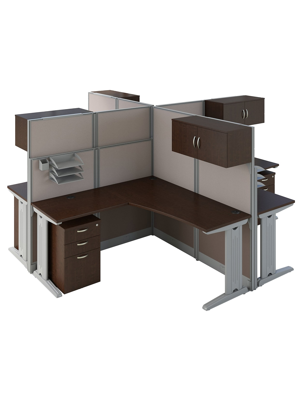 Bush Business Furniture Office In An Hour 4 Person L Shaped Cubicle Workstations Mocha Cherry Standard Delivery Office Depot