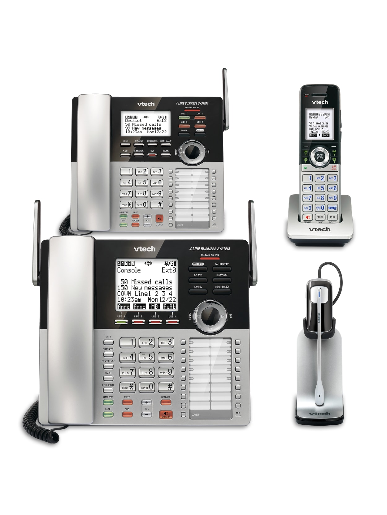 Vtech Cm18445 4 Line Small Business Office Phone System Bundle With 2 Desksets 1 Handset And 1 Headset Office Depot