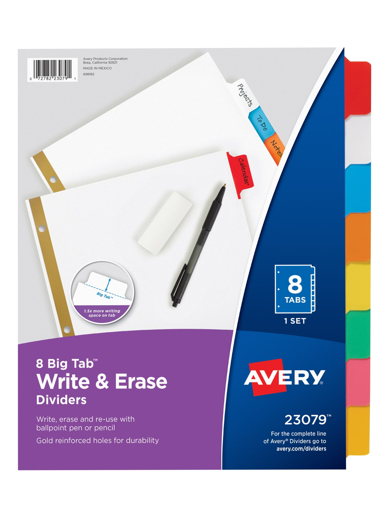 Avery Big Tab Write On Tab Dividers With Erasable Laminated Tabs 30