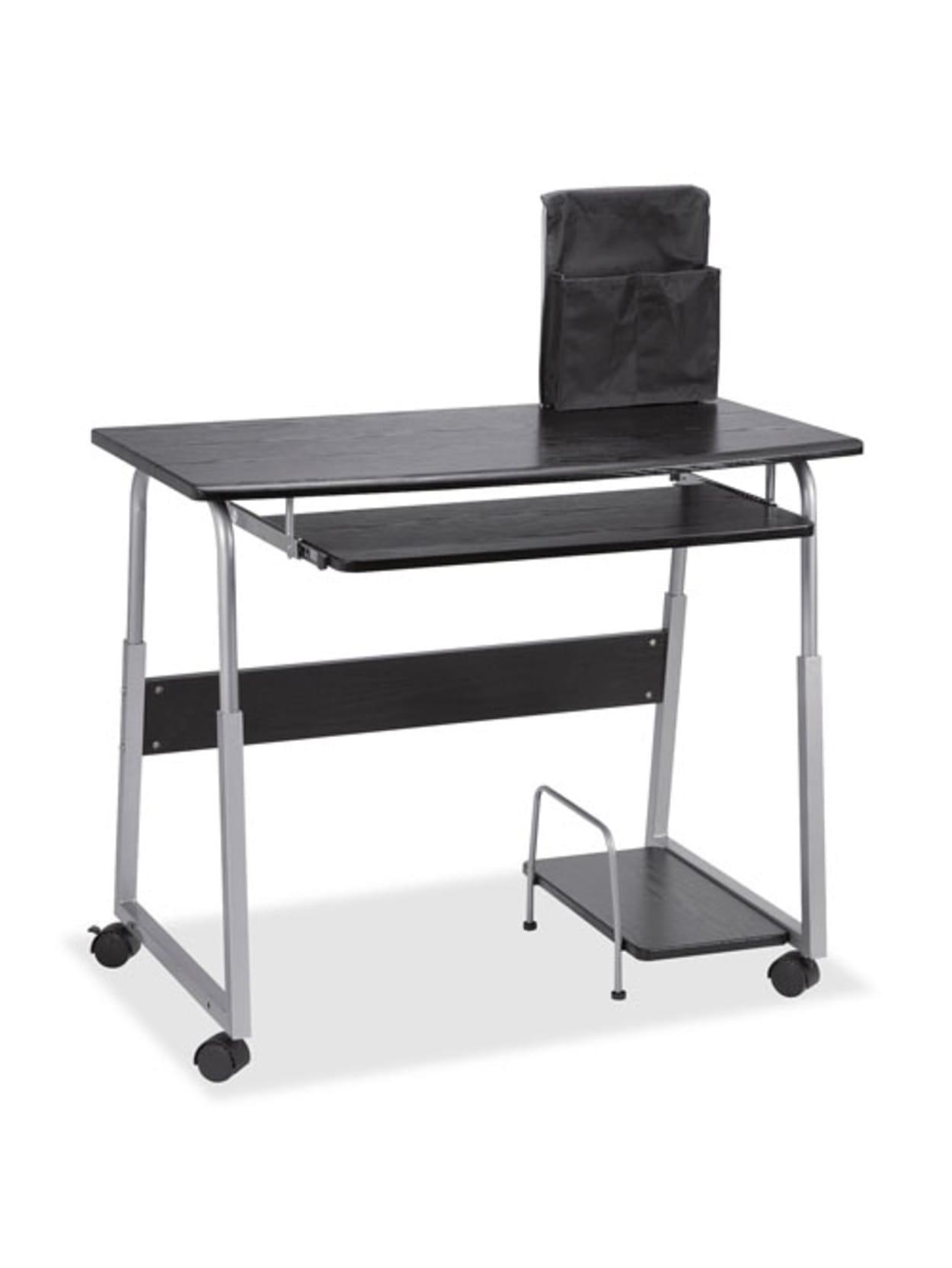 Lorell Mobile Computer Desk Blacksilver Office Depot