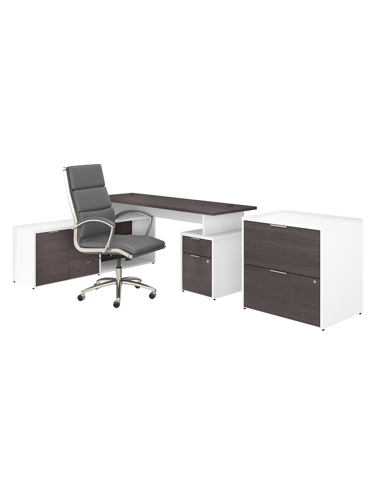 Bush Business Furniture Jamestown 72 W L Shaped Desk With Lateral File Cabinet And High Back Office Chair Storm Graywhite Standard Delivery Office Depot