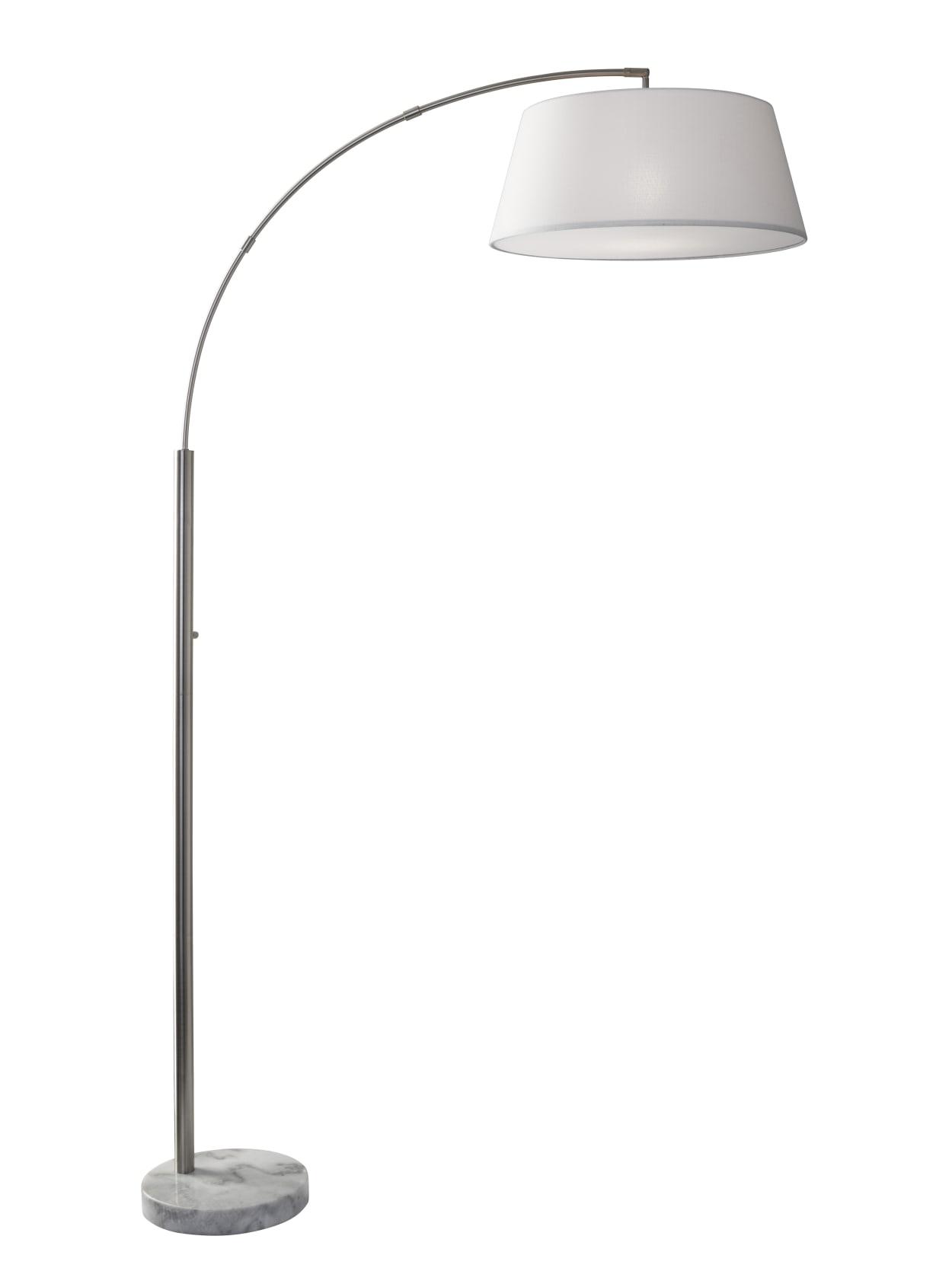 Adesso Thompson Arc Floor Lamp 82 H White Shadebrushed Steelwhite Base Office Depot