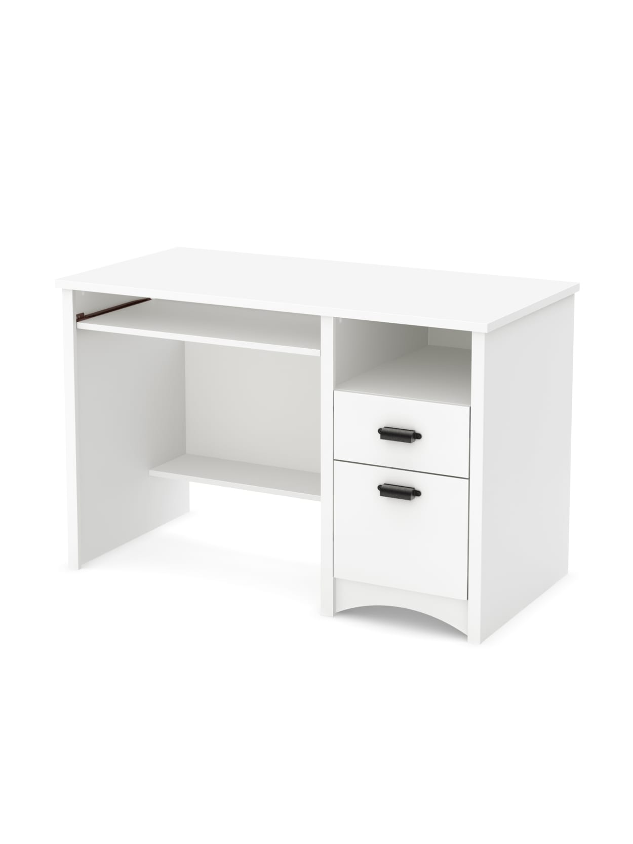 Picture of: South Shore Gascony Computer Desk With Keyboard Tray Pure White Office Depot