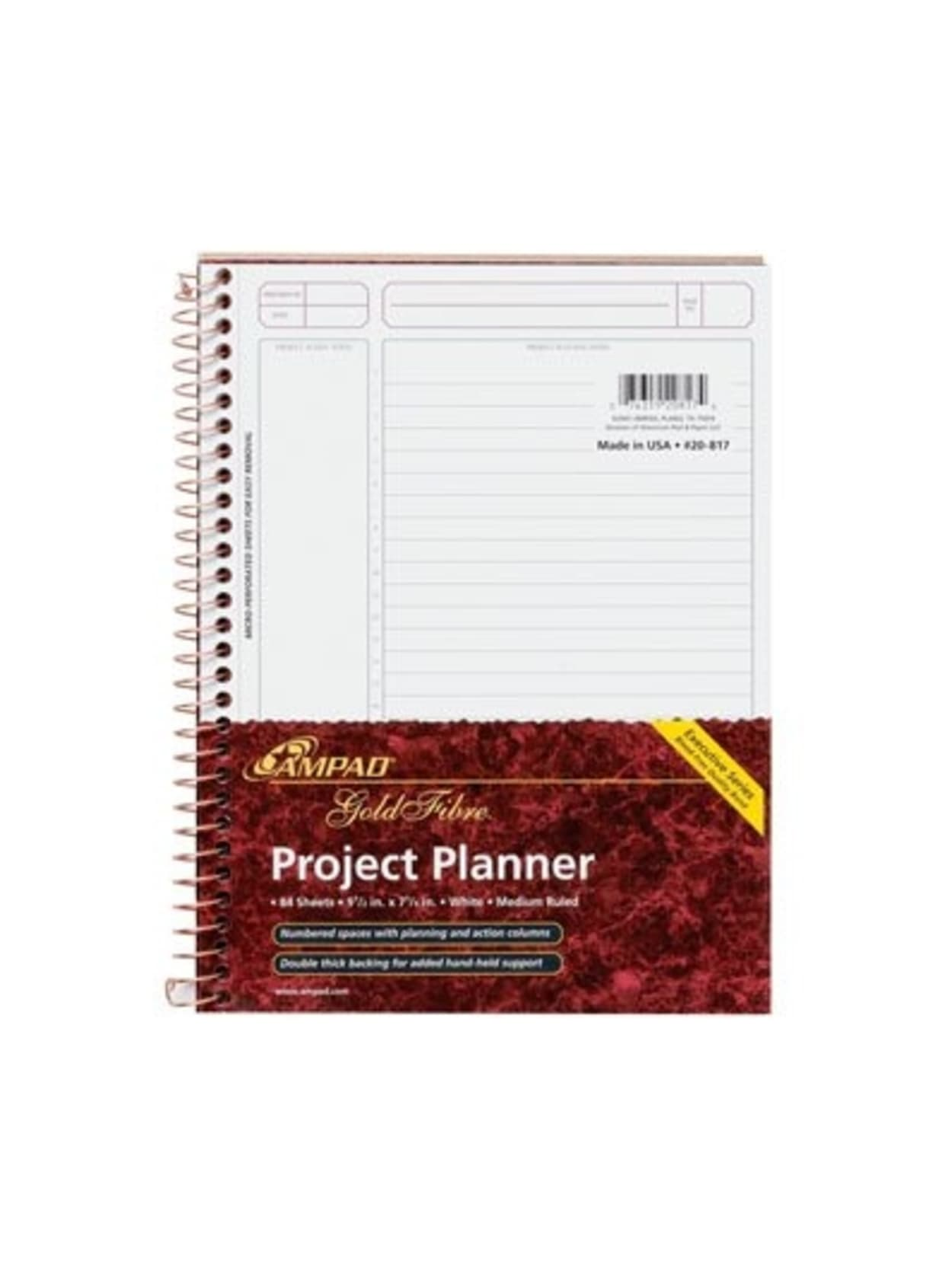 """AMPAD Gold Fibre Project Planner Top-Wire Bound 8-1//2/"""" x 11-3//4/"""" Project Navy"""