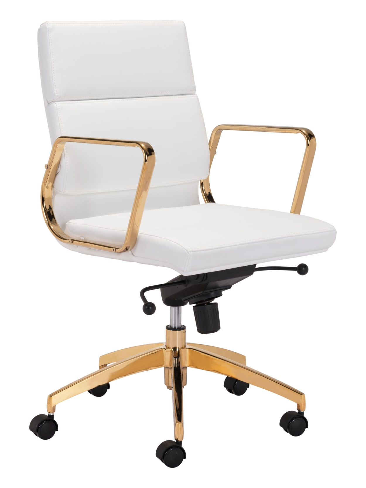 Zuo Modern Scientist Mid Back Office Chair WhiteGold - Office Depot