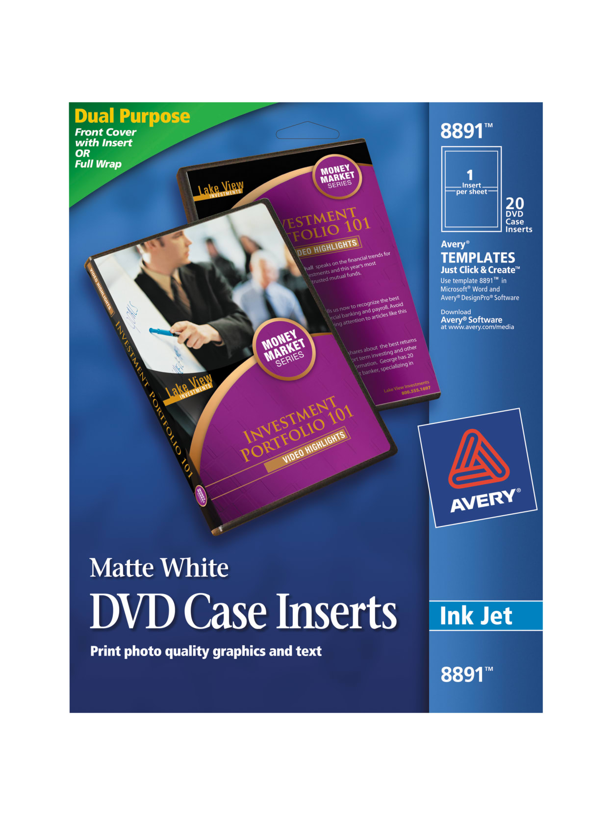 Avery Print To The Edge Inkjet Dvd Case Inserts 8891 4 12 Diameter White Pack Of 20 Office Depot