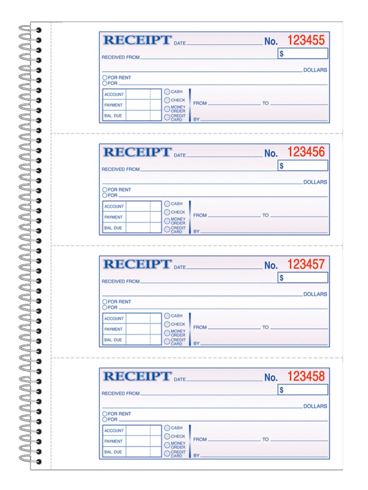 Pack of 12 SC1182 2-Part Carbonless 7-5//8 x 11 4 Receipts per Page AdamsMoney and Rent Receipt Book Spiral Bound 200 Sets per Book