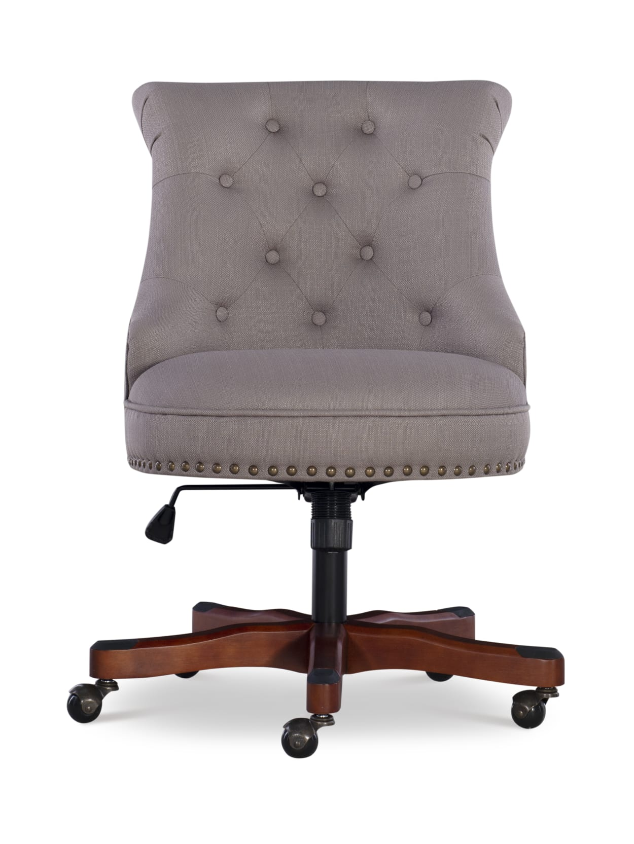 Linon Home Decor Products Dallas Fabric Mid Back Home Office Chair Dolphin Graydark Walnut Office Depot