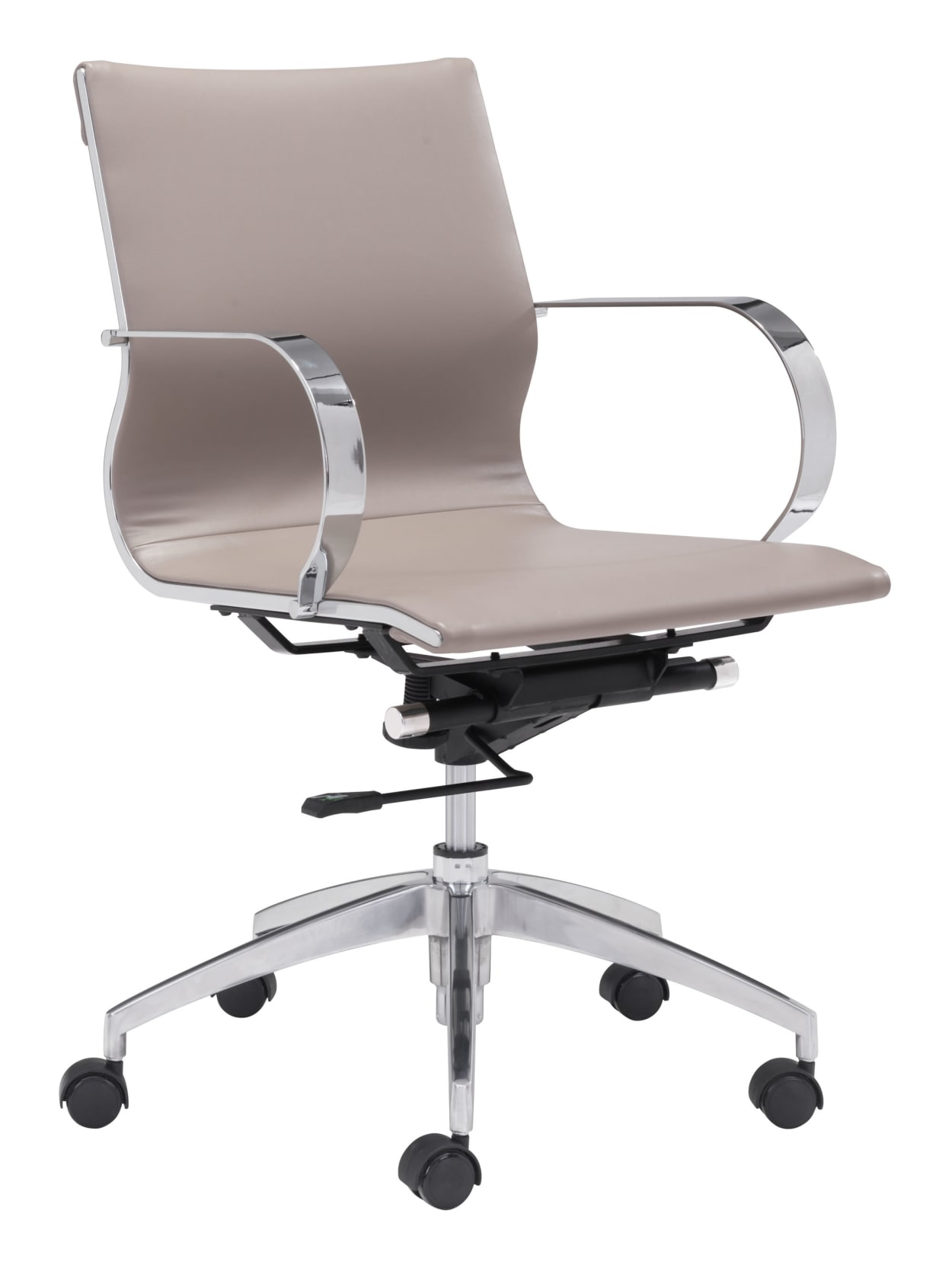 Zuo Glider Low Back Chair TaupeChrome - Office Depot