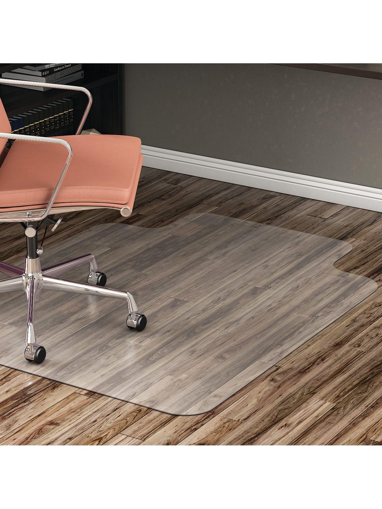 Realspace Hard Floor Chair Mat Wide Lip 45 X 53 Translucent Office Depot