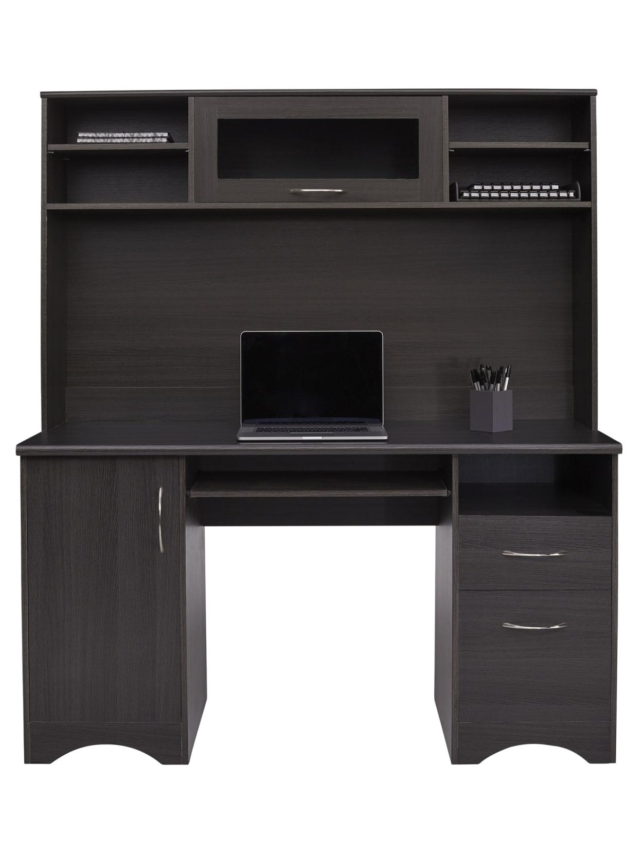 Realspace Pelingo 56 W Desk With Hutch 64 H X 55 12 W X 23 D Dark Gray Office Depot