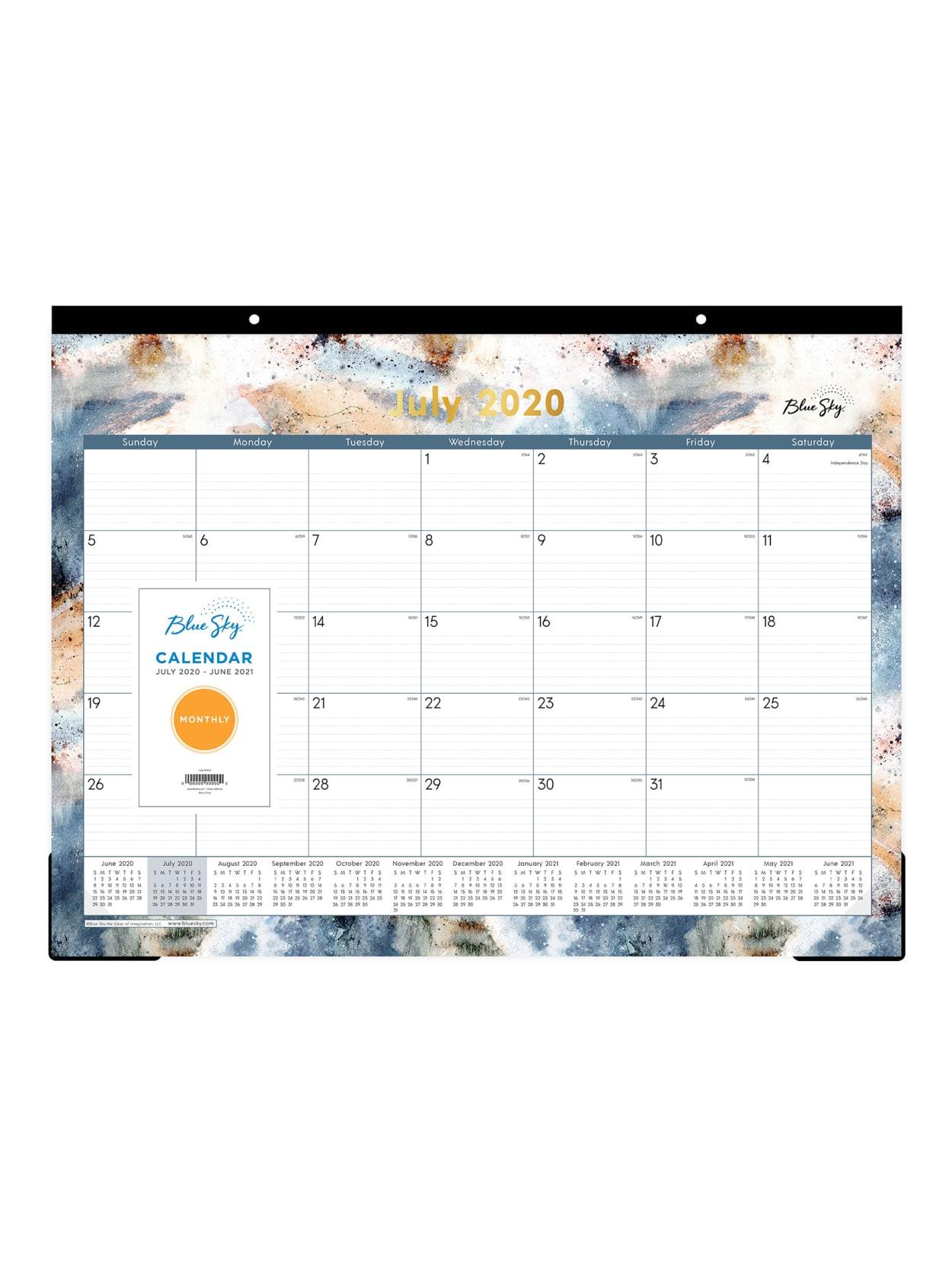 June 2021 Desktop Calendar Blue Sky Flint Desk Pad Calendar 119291   Office Depot