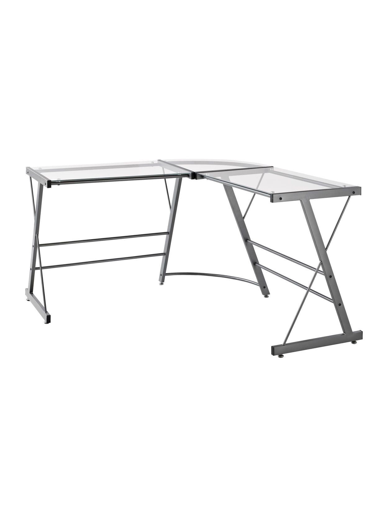 Ameriwood Home Glass L Shaped Computer Desk Gray Office Depot