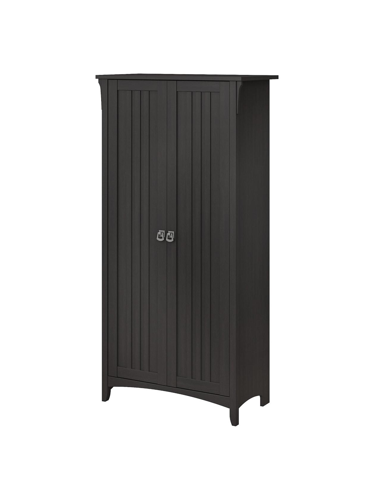 Bush Furniture Salinas 63 H Kitchen Pantry Cabinet With Doors Vintage Black Standard Delivery Office Depot
