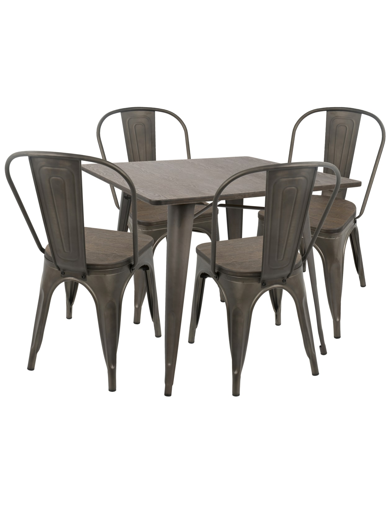 Lumisource Oregon Industrial Farmhouse Dining Table With 4 Dining Chairs Antiqueespresso Office Depot