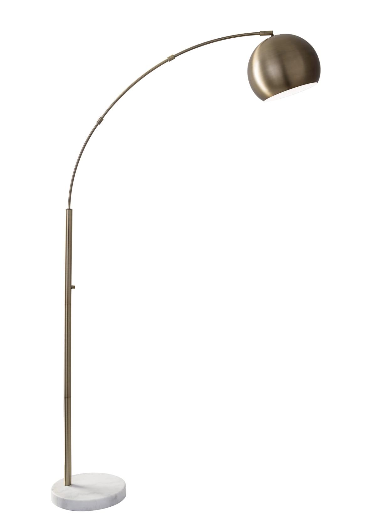 Adesso Astoria Arc Floor Lamp 78 H Antique Brass Shadewhite Marble Base Office Depot