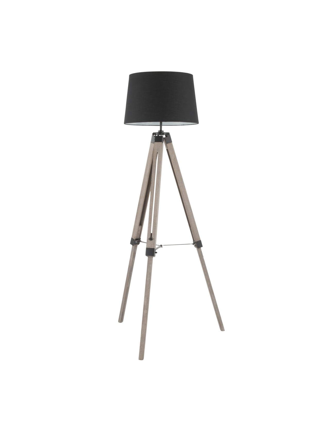 Image of: Lumisource Compass Mid Century Modern Floor Lamp Grey Washed Woodblack Shade Office Depot