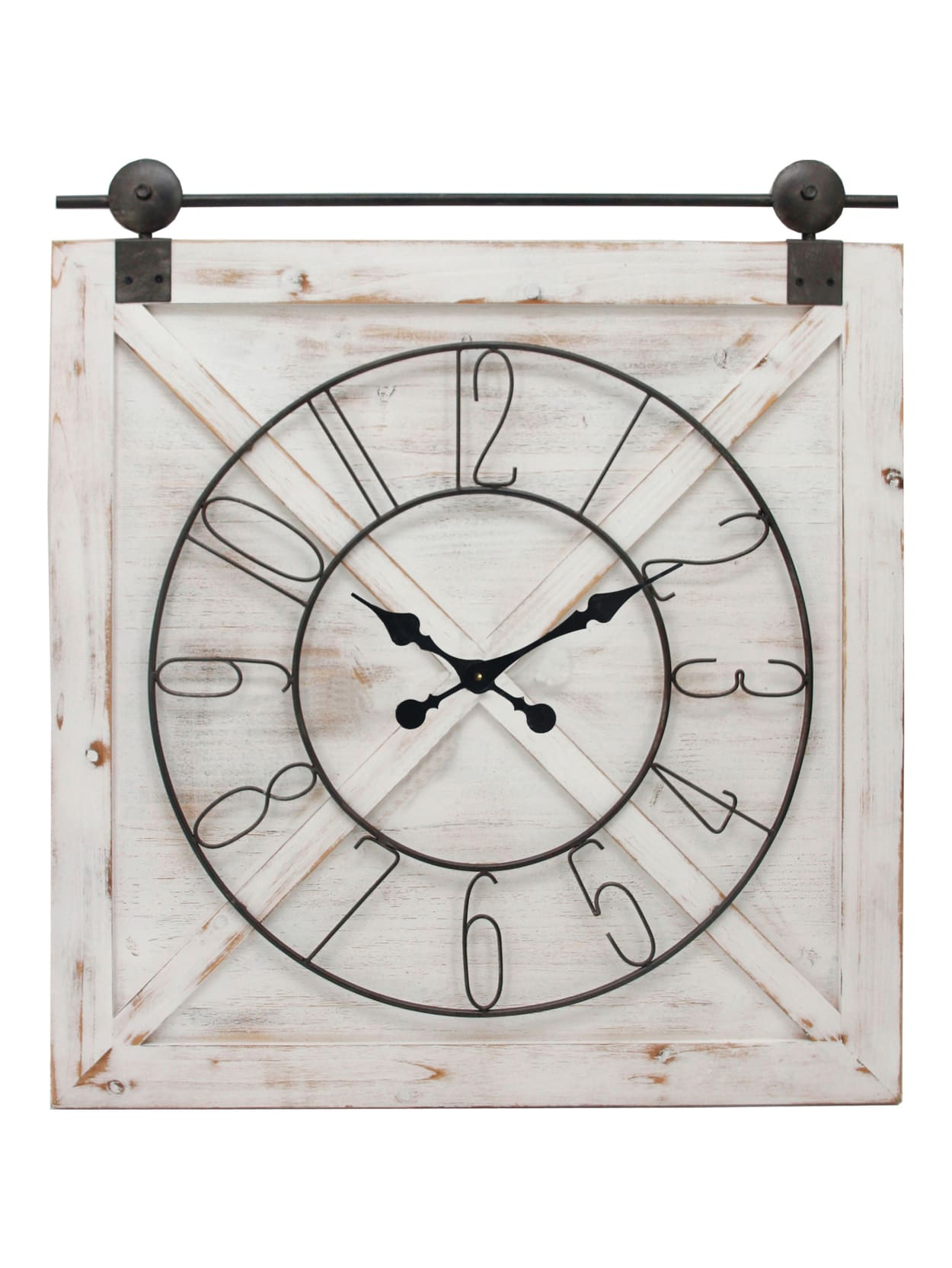 Black Farmstead Barn Door Wall Clock American Designed Black 27 x 2 x 29 inches FirsTime /& Co
