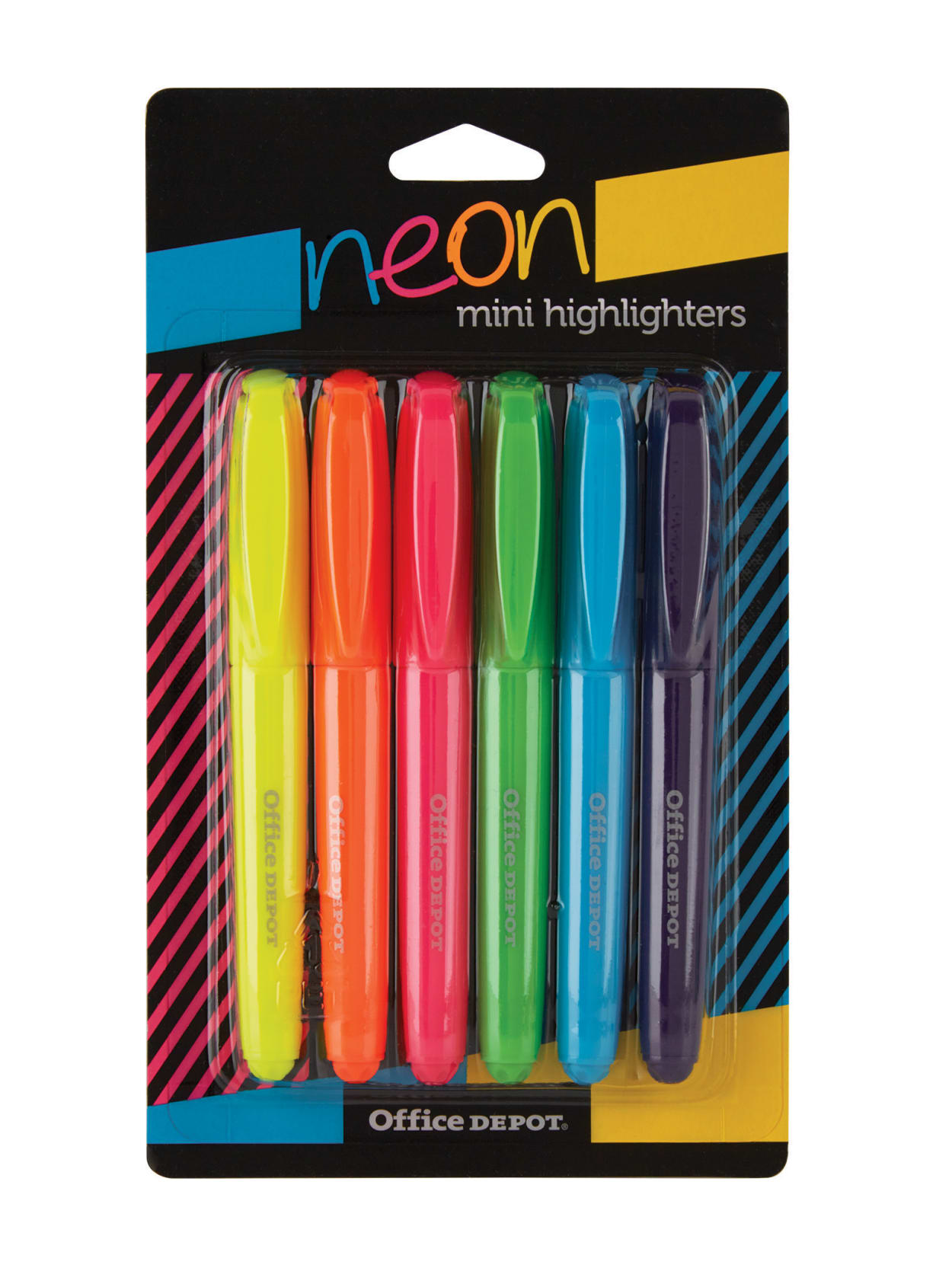Assorted Colors 6-Pack Fluorescent Mini Highlighters With Detachable Clip Ring