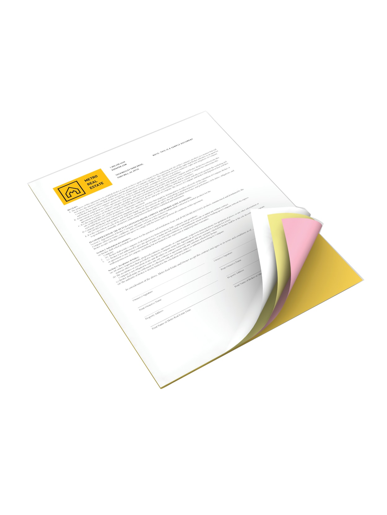 8 REAMS 4 Part Reverse 1000 Sets 4000 Sheets Ncr5915 White, Canary, Pink, Gold 8.5 x 11 Superior Carbonless Paper