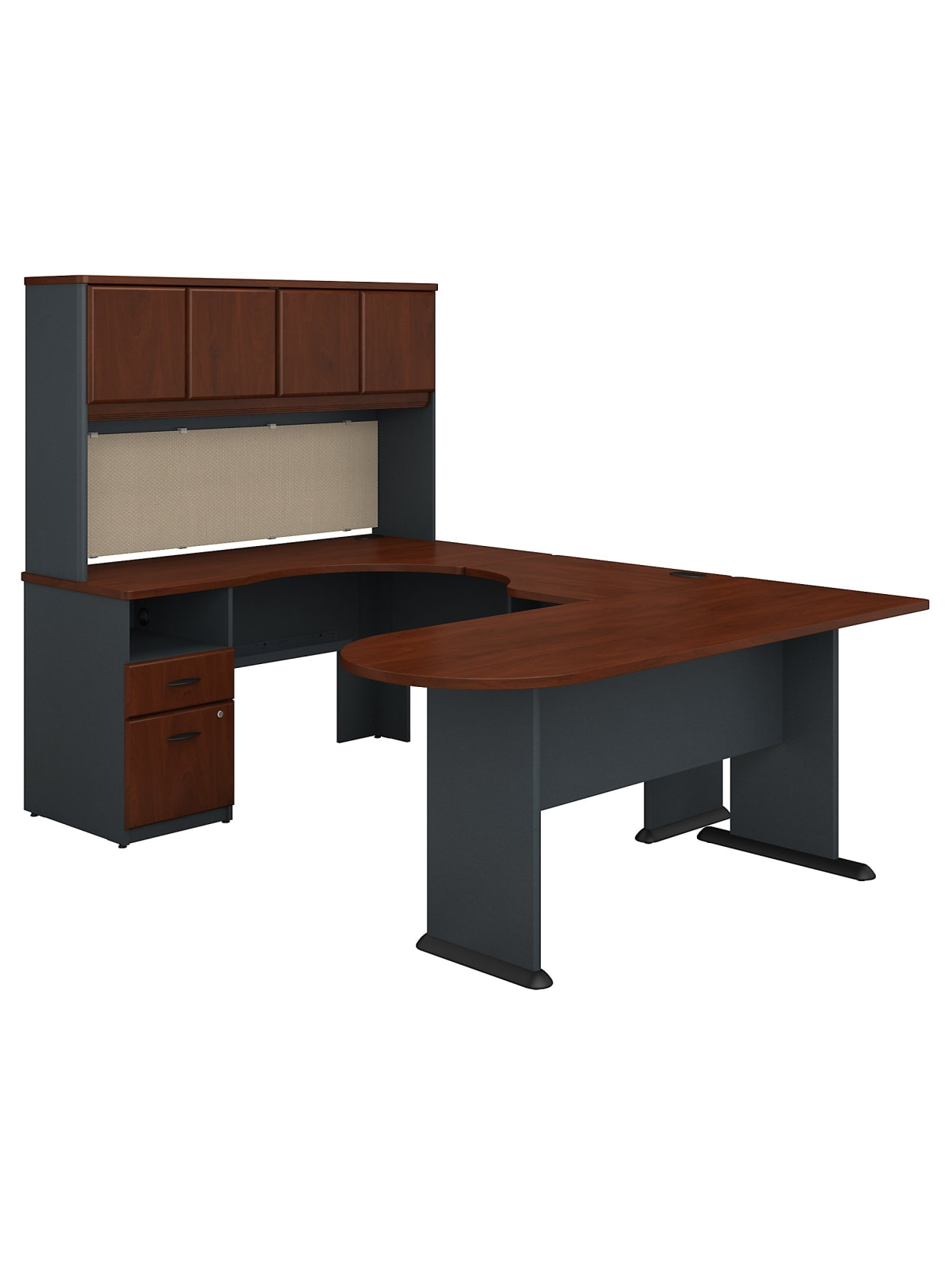 Bush Business Furniture Office Advantage U Shaped Desk And Hutch With Peninsula And Storage Hansen Cherry Standard Delivery Office Depot