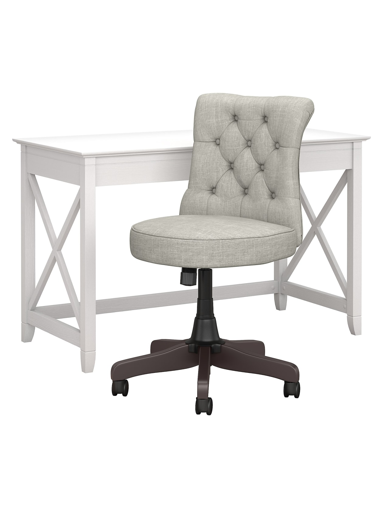 Bush Furniture Key West 48 W Writing Desk With Mid Back Tufted Office Chair Pure White Oak Standard Delivery Office Depot
