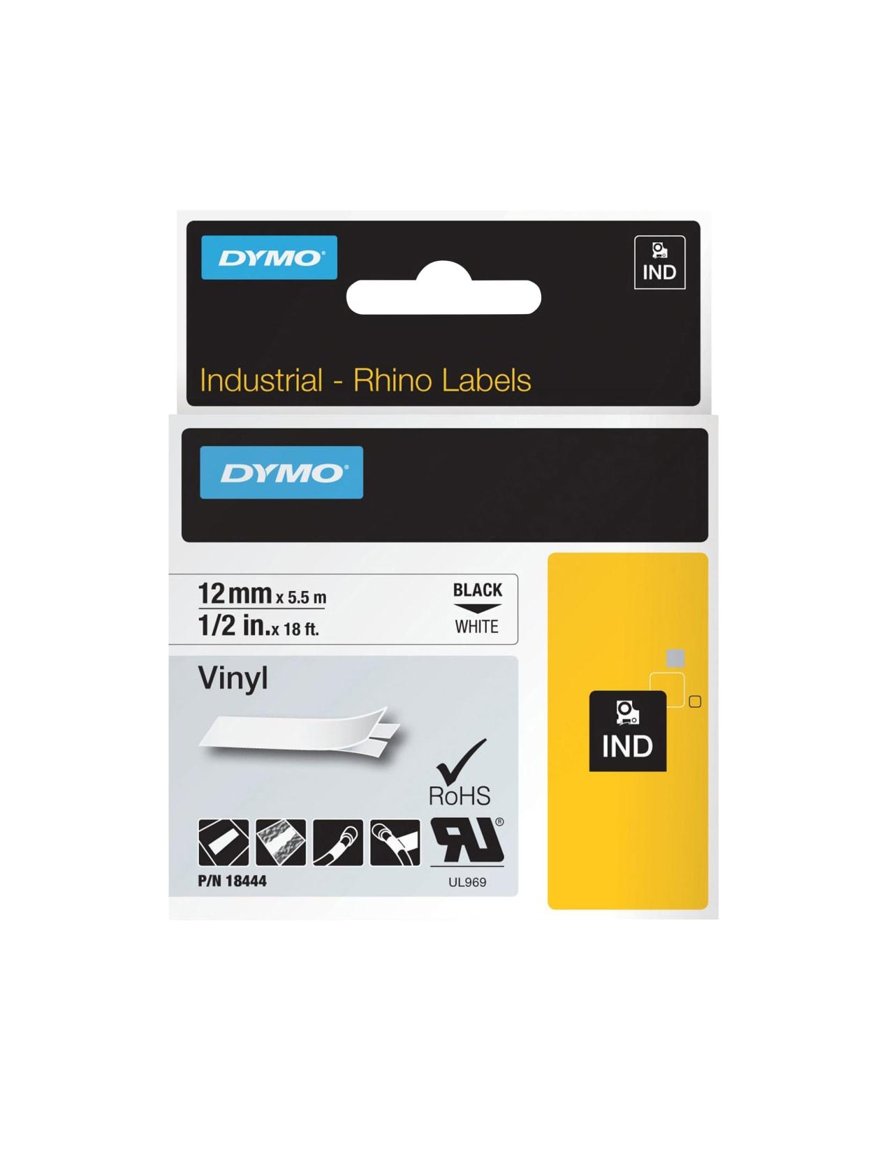 """4PK 18444 Black on White IND Vinyl Label 1//2/"""" 12mm for DYMO RHINO 4200 5200 6000"""