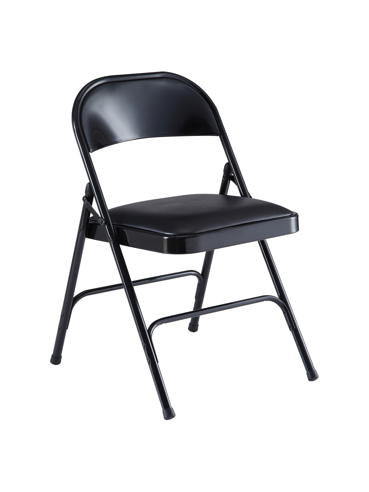 Lorell Vinyl Padded Folding Chairs Black Set Of 4 Chairs Office Depot