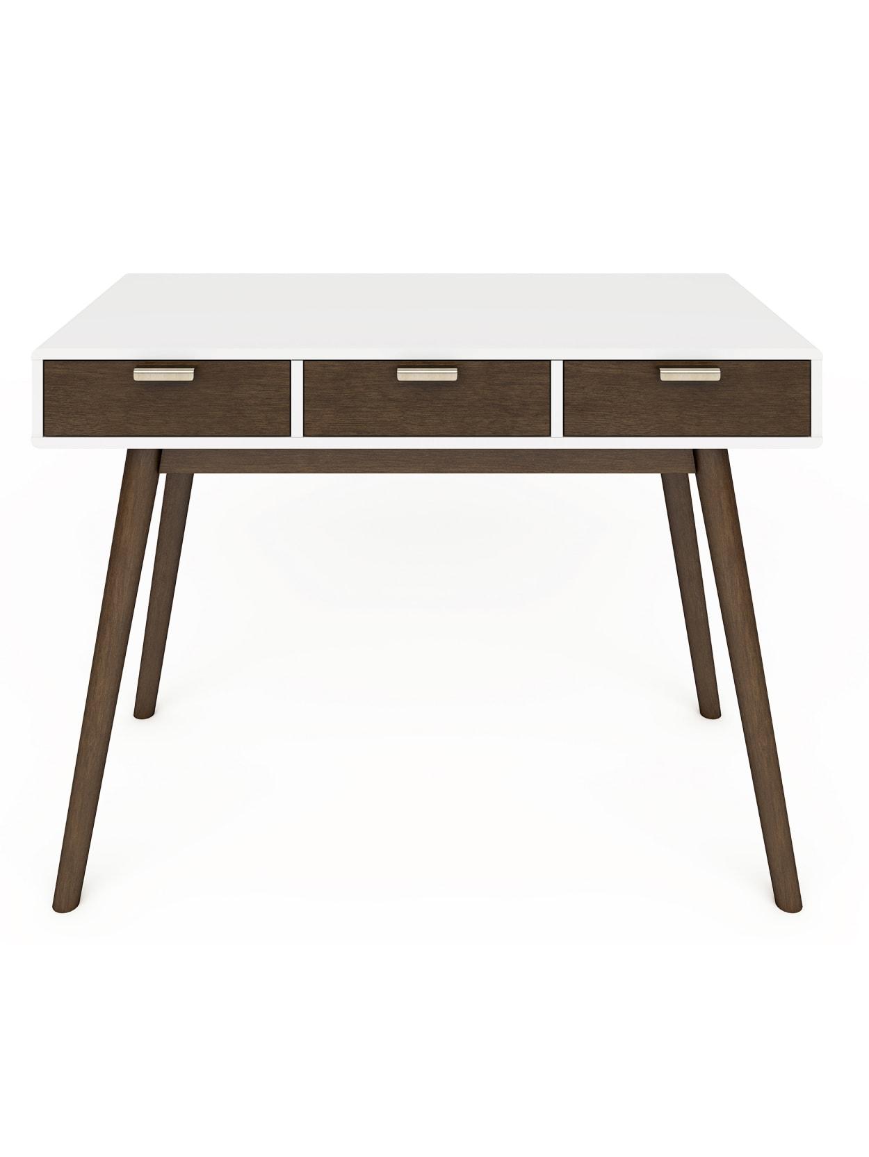 Elle D Cor Stara Mid Century Modern Desk Whitebrown Office Depot