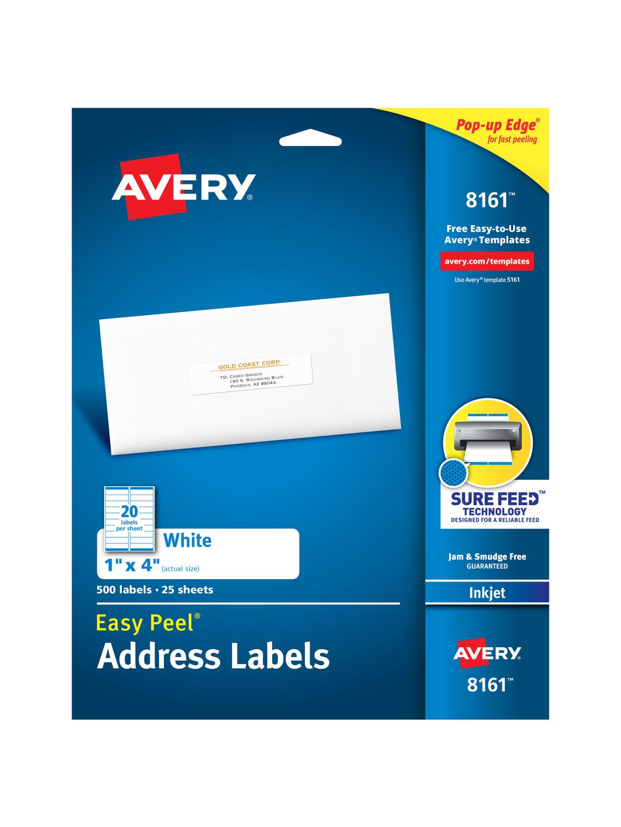 500 Labels Easy to Peel 4 x 1 1 x 4 Address Labels Laser or Inkjet Printable