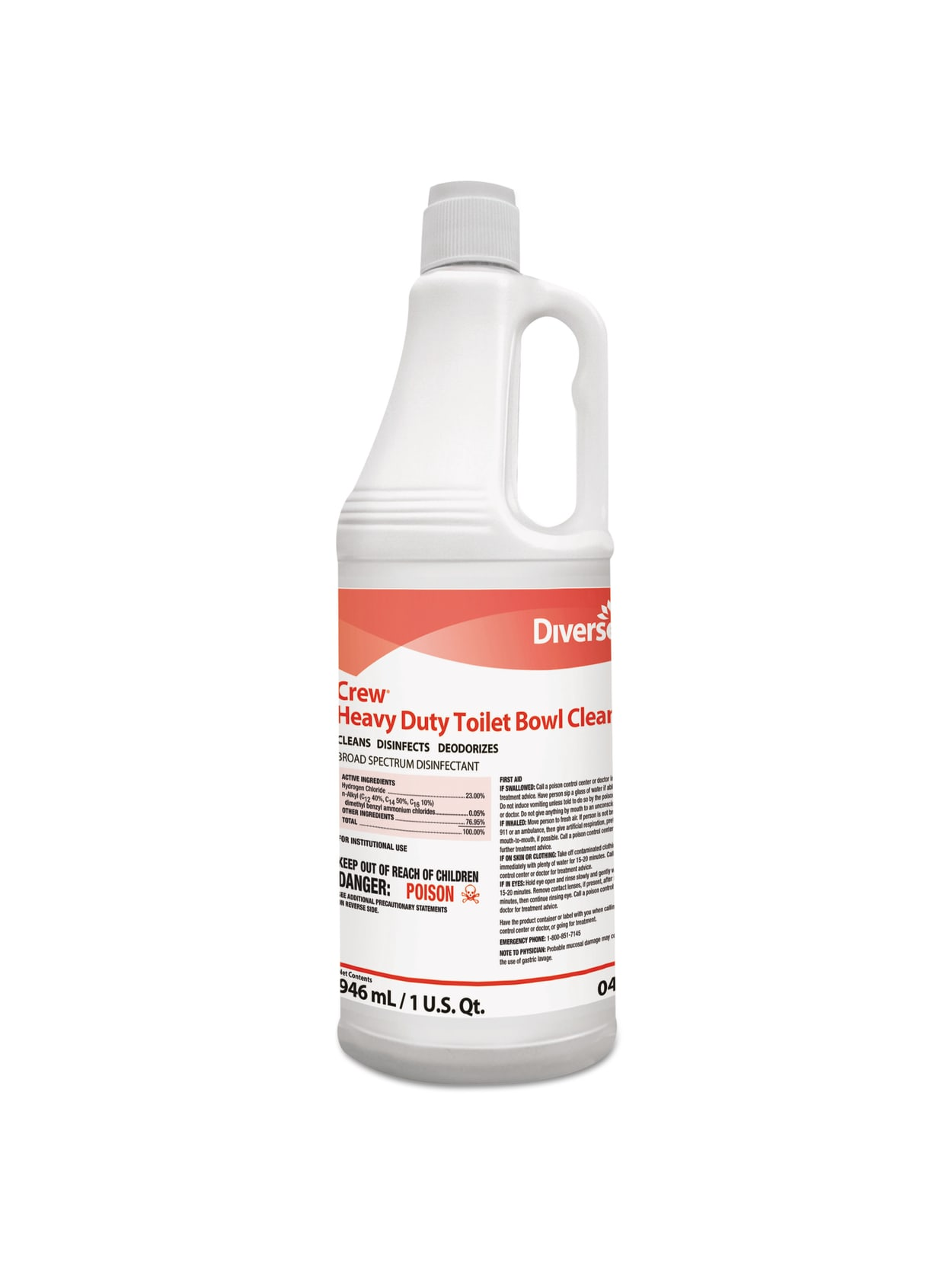 Diversey Crew Heavy Duty Toilet Bowl Cleaner Minty Scent 32 Oz Pack Of 12 Bottles Office Depot